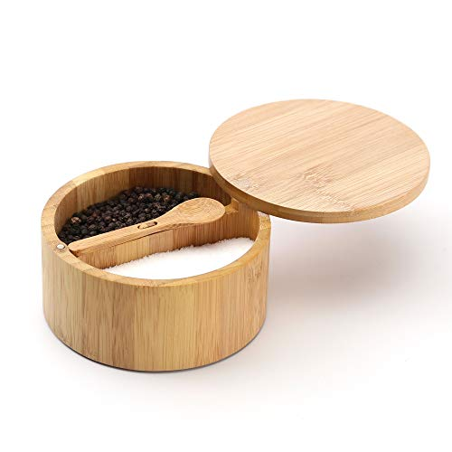 KITCHENDAO Bamboo Salt and Pepper Box - Built-in Serving Spoon to Prevent Lost - Swivel Lid with Magnet to Keep Dry, Dust-free - Fillet Design - 7 oz Capacity Each Compartment