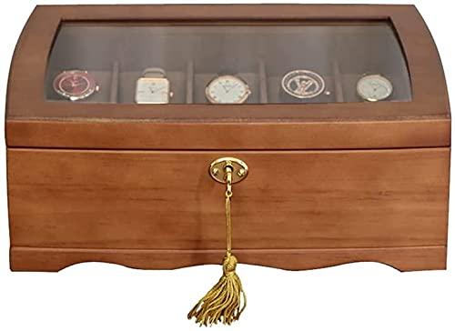 Caja de reloj de madera para relojes, organizador de joyas, caja de rejilla y organizador de relojes