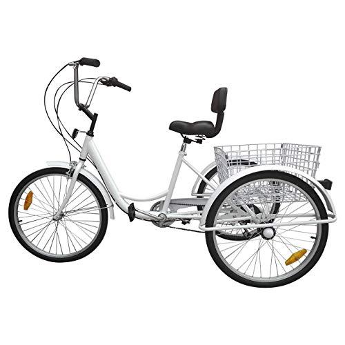 "Ridgeyard triciclo adulto 24 ""6 velocidades bicicleta 3 ruedas"