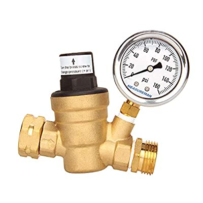 Measureman Adjustable Brass Lead-Free RV Pressure Regulator, Pressure Reducer with Liquid Filled Pressure Gauge 160psi and Inlet Screened Filter for RV Camper Travel Trailer by MEASUREMAN