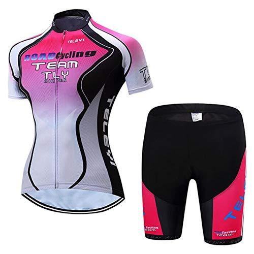 QWA Sommer Herren Radtrikot Schnelltrocknend Atmungsaktiv Reflektierend Hemd + 20D Cushion Shorts Gepolstert 3 Tasche Mountainbike Kleidung (Color : Pink 3, Size : I(4XL))