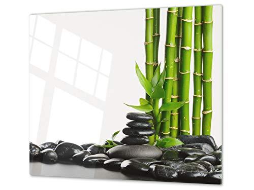 Tabla de cortar decorativa de cristal templado y cubre vitro – Dos en Uno – Resistente a golpes y arañazos – UNA PIEZA (60 x 52 cm) o DOS PIEZAS (30 x 52 cm); D08 Serie Naturaleza: Bambú piedras zen