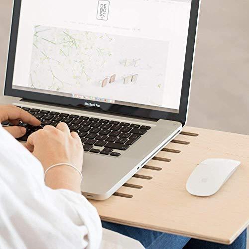 Soporte para Portátil, Fabricado en Madera, para Utilizar el Ordenador desde el Sofá o Cama con una Ventilación Correcta, Teletrabajo