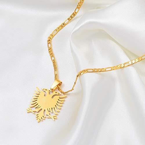 VAWAA Albanien Adle Pendant Halsketten Gold Color & Edelstahl Schmuck Ethnic Geschenke Für Frauen Männer