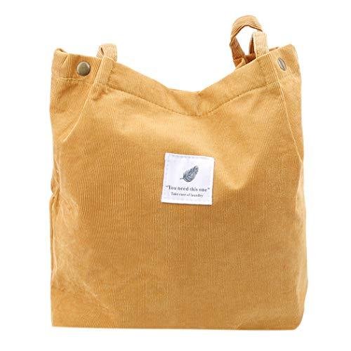 SEVENHOPE Frauen Cord Handtasche Schultertasche Tote Geldbörse Lässig Einkaufstasche Mode Große Kapazität Umhängetasche (Ingwer Gelb)