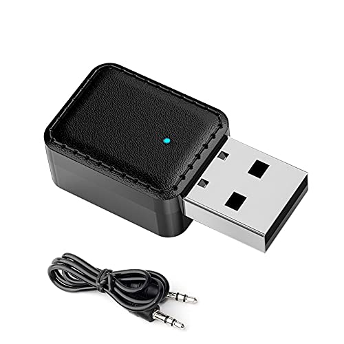 JeoPoom Adaptador Bluetooth 5.0, Bluetooth 5.0 USB Dongle Stick, 2 En 1 Receptor Bluetooth Y Transmisor Bluetooth, para PC, TV, Coche, Hogar, Auriculares, con Audio Inalámbrico 3.5MM Cable(Negro)