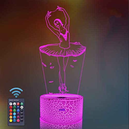 Ballet Gifts, Ballerina 3D Night Light 16 Colors Changing Night Lamp for Girl with Remote Control, Ballet Dancer Gifts for Age 2 3 4 5 6+ Years for Children Girls Women Friend