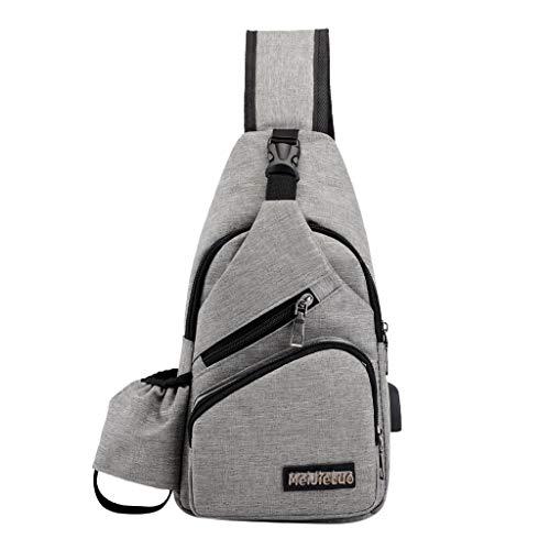 MRULIC Herren Brusttasche Reisetasche Mode Tasche Multifunktions Messenger Bag Einfach zu Installierende Brieftaschen und Handys(Grau,One Size)