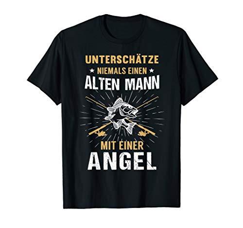 Herren Angler Angeln Papa Vater Opa Angelrute Geburtstag Geschenk T-Shirt