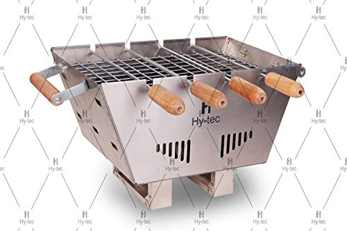 H Hy-tec (Device) HYBB-02 Mini Portable Limited Edition Barbecue with 4 Skewers, 1 Grill & 1 Packet of Charcoal (Stainless Steel Body)
