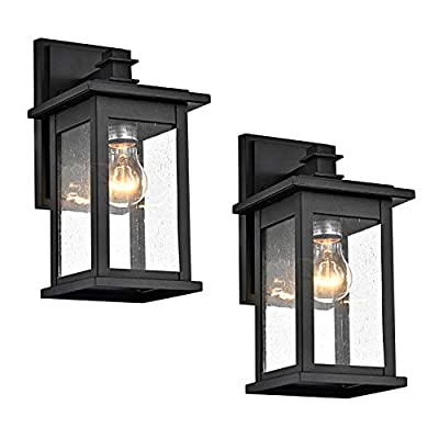 MICSIU Wall Sconce 1-Light Outdoor Exterior Lamp Wall Lantern Vintage Fixture Light with Clear Glass,Textured Black, Bulb Included, for Home,Porch,Patio,Walkways,Bedroom