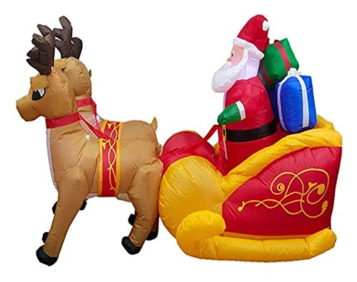 CHIFAN Christmas Decorations Christmas Elk Pulling Sleigh Santa Inflatable Package Garden Ornament -2.2 M