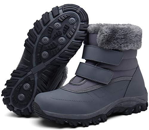 Damen Winterstiefel Wasserdicht Warm gefütterte Schneestiefel Winterschuhe Winter Kurzschaft Leder Stiefel Boots Schuhe Grau(Grey) 37 EU/38CN