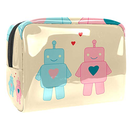Portable Makeup Bag with Zipper Travel Toiletry Bag for Women Handy Storage Cosmetic Pouch Vintage Retro Robot Couple Lover