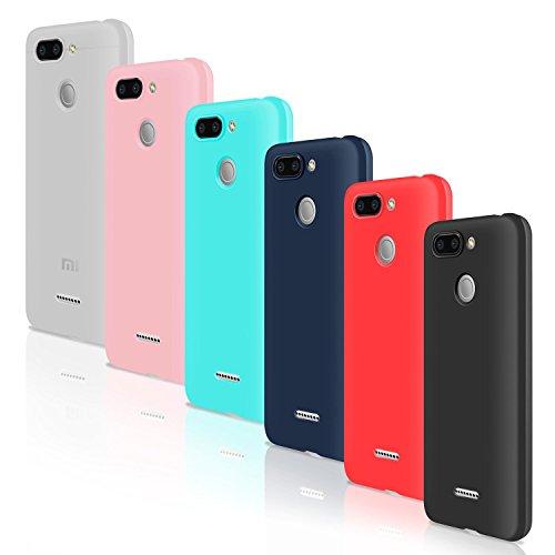 Leathlux [6 Packs] Funda para Xiaomi Redmi 6, Carcasas [NO per Redmi 6A] 6 Unidades juntas Ultra Fina Silicona TPU Flexible Colores Cover para Xiaomi Redmi 6 - Translúcido Rosa Verte Azul Rojo Negro