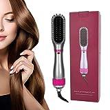 Cepillo para alisar el cabello - Cepillo para alisar el cabello anti escaldaduras - Cepillo alisador de cabello iónico para alisar rizos de doble uso con 3 niveles de calor(UE)