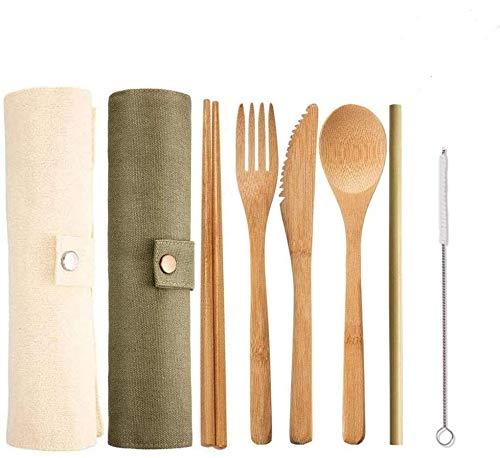 AOSEA 2 Set Bamboo Cutlery, Reusable Flatware Set Travel Utensils Include Knife, Fork, Spoon, Chopsticks, Reusable Straw for Travel Picnic Office School (Green+ Beige)