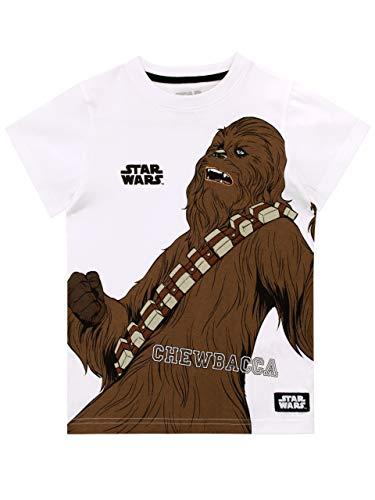 Star Wars Camiseta de Manga Corta para Niños Chewbacca La Guerra de Las Galaxias Blanco 5-6 Años