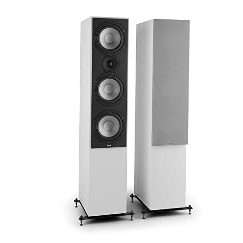 NUMAN Reference 801 - Lautsprecher, DREI-Wege Standlautsprecher, Paar Boxen, HiFi-Lautsprecher, Aluminium Druckguss Chassis, warmes Klangbild, Silberne Lautsprecherabdeckung, weiß