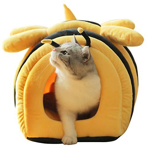 Mwpo 猫ベッド 猫ハウス 可愛い ハチ型 寒さ対策 保温防寒 柔らかい 猫 犬 ベッド クッション 小型犬 キャットハウス ペットベッド 暖かい休憩所 イエロー (ハチ)