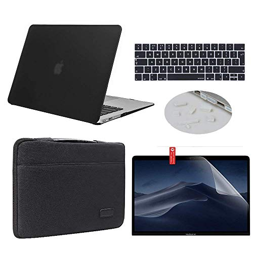"""MacBook Air 13 inch Case 2019 2018 Model A1932 Bundle 5 in 1, iCasso Hard Plastic Shell with Sleeve, Screen Protector, Keyboard Cover & Dust Plug Compatible New MacBook Air 13"""" - Black"""