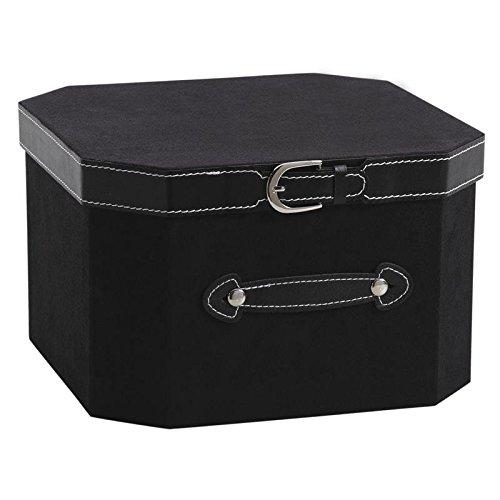 Zwarte doos van karton en kunstleer met gesp.