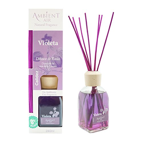 Ambientair Classic. Difusor de Varillas perfumadas. Ambientador Mikado Aroma Violeta. Difusor 240 ml con palitos de ratán. Ambientador para Hogar sin Alcohol.