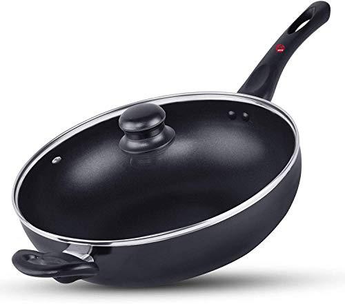 ytrew Wok Pan 32cm, Non Stick Aluminium Black Wok for Electric & Gas Stoves, Stainless Steel Handle Woks & Stir Fry Pans, Oven Safe