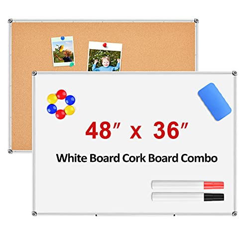 White Board Cork Board Combo, Magnetic Dry Erase Board 48 x 36, Bulletin Board, Aluminium Frame White Board for Wall with Removable Marker Tray, 1 Eraser, 2 Pens, 6 Magnets, and 16 Push Pins