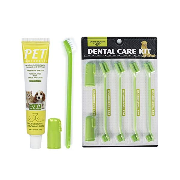 Dolzzeiy Dog Dental Care Kit Pet Oral Care Kit. One Pack-Beef Flavor Toothpaste with...