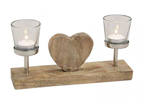 meindekoartikel Sehr schöner Teelichthalter auf Mangoholz mit Herz b28h16t7 cm Kerzenhalter Kerzenständer Teelicht Kerze braun