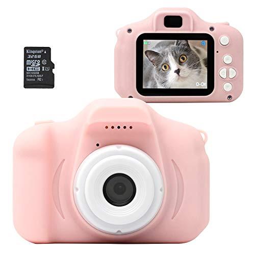[30日保証] MRG キッズカメラ 子供用デジタルカメラ 32G SDカード付き 日本語説明書付き 1080p 動画 95g トイカメラ カメラ 写真 動画 ゲーム内蔵 ストラップ付き おもちゃ プレゼント ギフト (ピンク)