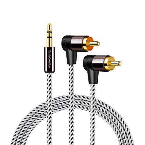 Cinch auf 3,5 mm, CableCreation 3,5 mm auf 2 RCA Stereo Audio Y Splitter Kabel (Stecker) Kompatibel mit TV, Smartphones, MP3, Tablets, Lautsprechern, Heimkino usw. 3 Ft / 0,9 m