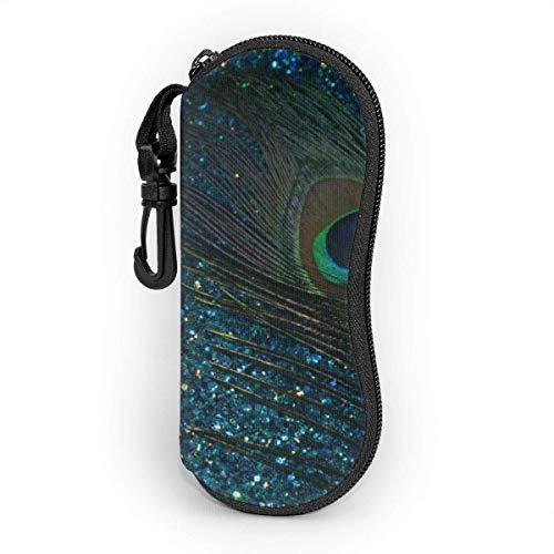 AOOEDM Brillenetui mit Karabinerhaken, glitzernder blauer Pfau, runde, ultraleichte, tragbare Neopren-Reißverschluss-Sonnenbrille