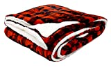 Mossy Oak Reversible Plush Throw Blanket with Sherpa, 50X60, Red Plaid