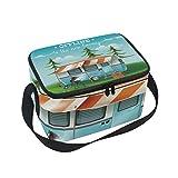 Scenery and Camper Van - Bolsa térmica para el almuerzo con correa para el hombro, reutilizable, para adultos, niños
