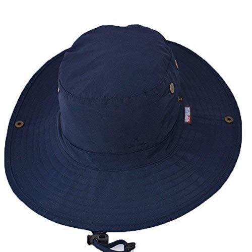 Ogquaton - Gorra de pescador de calidad azul marino, protección UV, ala redonda, sombrero de pesca, casual, para actividades al aire libre, creativas y útiles, 1 unidad