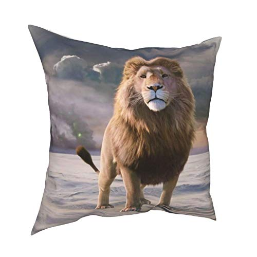 Soft Decorative Square Throw Pillow Cover Cushion Covers Pillowcase Lion Movie The Chronicles Of Narnia The Lion The Witch And The Wardrobe Home Decor for Sofa Couch Bed Chair 18x18 Inch/45x45 cm
