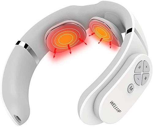 WELLUP Electric Pulse Neck Massager: 3 Modes 15 Levels Portable Cordless Heating Deep Tissue Trigger Point Massage for Women Men Gift