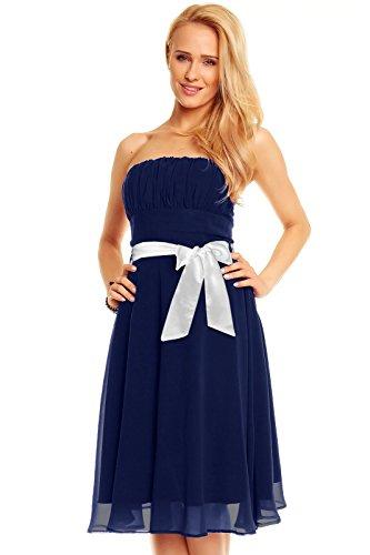 Mayaadi Deluxe Damen Kleid Knielanges Bandeau Chiffon Ballkleid Abendkleid Cocktailkleid Festkleid...