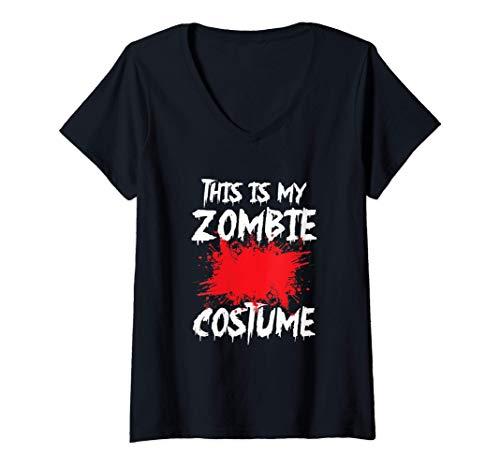 Mujer Ropa divertida a juego, este es mi disfraz de zombie. Camiseta Cuello V