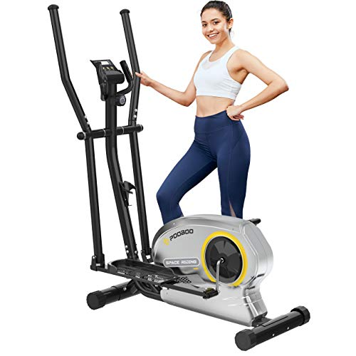 pooboo Elliptical Trainer Magnetic Elliptical Machines for Home Use Portable Elliptical Trainer with Pulse Rate and LCD Monitor (Yellow with Monitor)