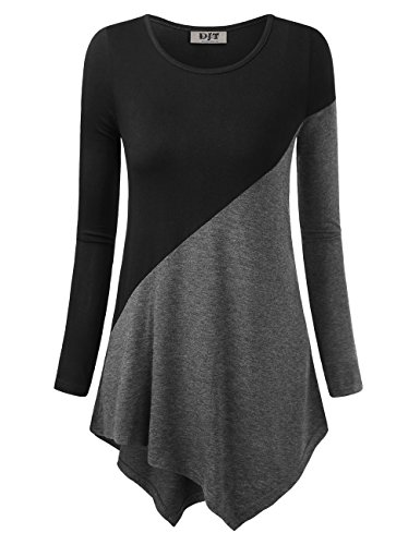DJT Women's Color Block Long Sleeve T Shirts Tunic Tops L Black+Dary Grey