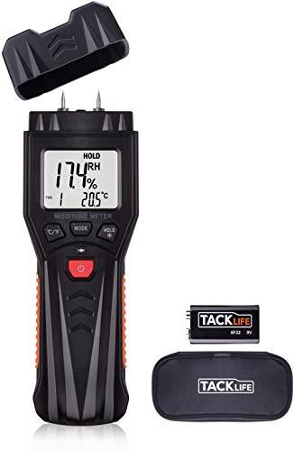 TACKLIFE Humidímetro Digital, Medidor de Humedad, Termómetro Higrómetro Digital, Mide la Humedad de Materiales de Construcción, Humedad de la Madera, Calibración Manual, etc. - MWM03