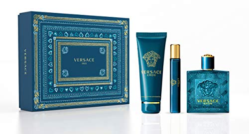 Versace Eros 3- pieces Set for Men (3.4 Ounce Eau de Toilette Spray + 5.0 Ounce Shower Gel + 0.3 Ounce Eau de Toilette Travel Spray, Multi Color