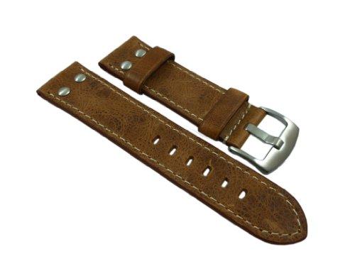 18mm Kalbsleder Uhrenarmband im Vintage-Look mit Nieten Braun Silberfarbende Dornschließe inkl. Myledershop Montageanleitung