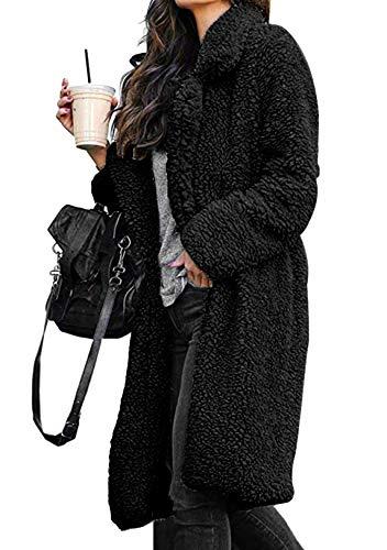 OMZIN Damen Plüschmantel Frau Kapuzenjacke Plüsch Stepp Warmen Cardigan Lange Ärmel Parka Teddy-Fleece Trench Coat Schwarz L