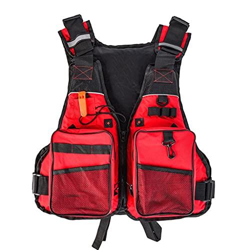 Chaqueta al Aire Libre multifunción, Chaleco de Pesca portátil Profesional, Chaleco Salvavidas de Flotador para Kayak Boarding Boating Boating (Color : Red)