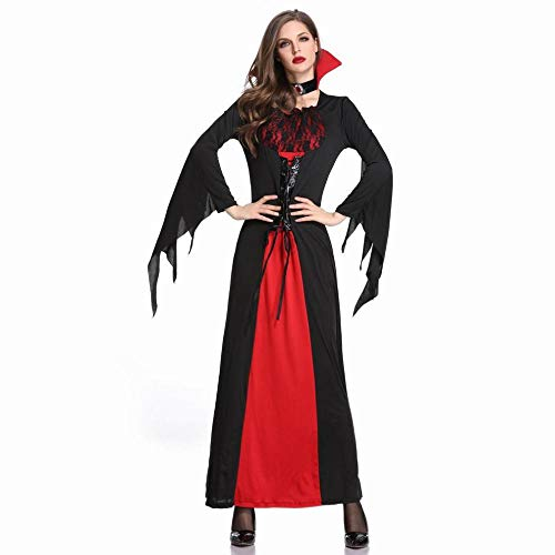 MU Disfraz de Halloween Vampiro Bruja Vestido Falda Larga Disfraz de Bruja Gtica Negro Temperamento Diosa Reina,Negro,L