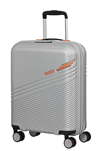 American Tourister Triple Trace Luggage- Carry-On Luggage, S (55 cm - 46 L), Silber (Silver/Orange)